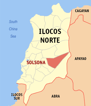 Map of Ilocos Norte showing the location of Solsona