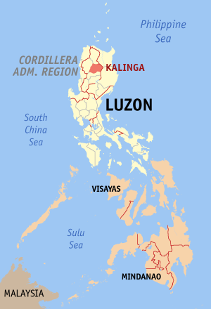 Мапа на Филипините со факти за Калинга highlighted
