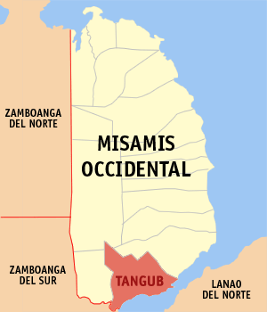 Map of Misamis Occidental showing the location of Tangub City