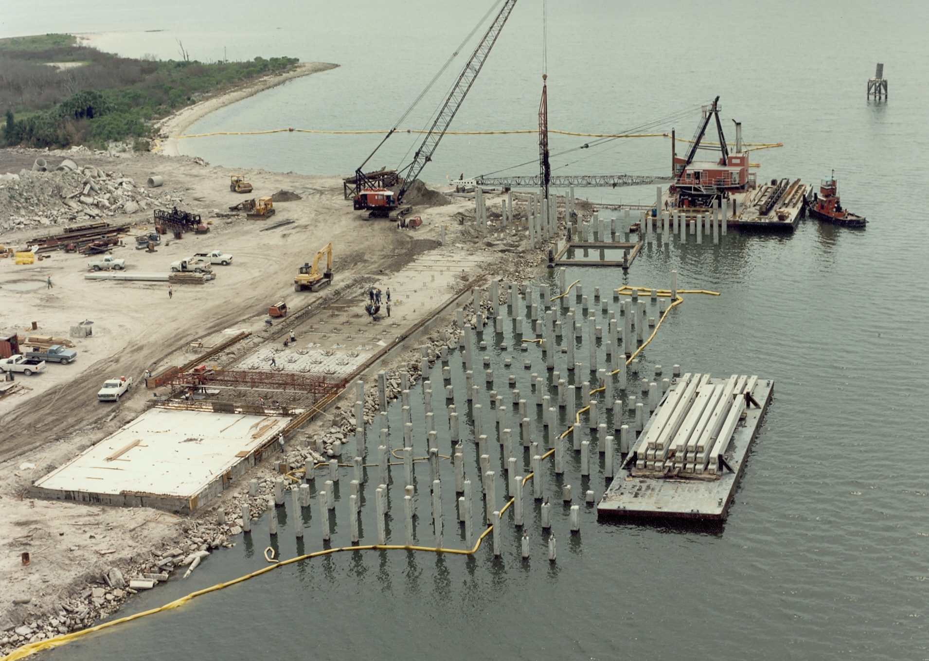 Pile driving operations in the Port of Tampa, Florida, United States.