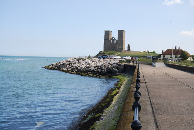 Rip rap in front of St Mary's Church, Reculver - geograph.org.uk - 1470748