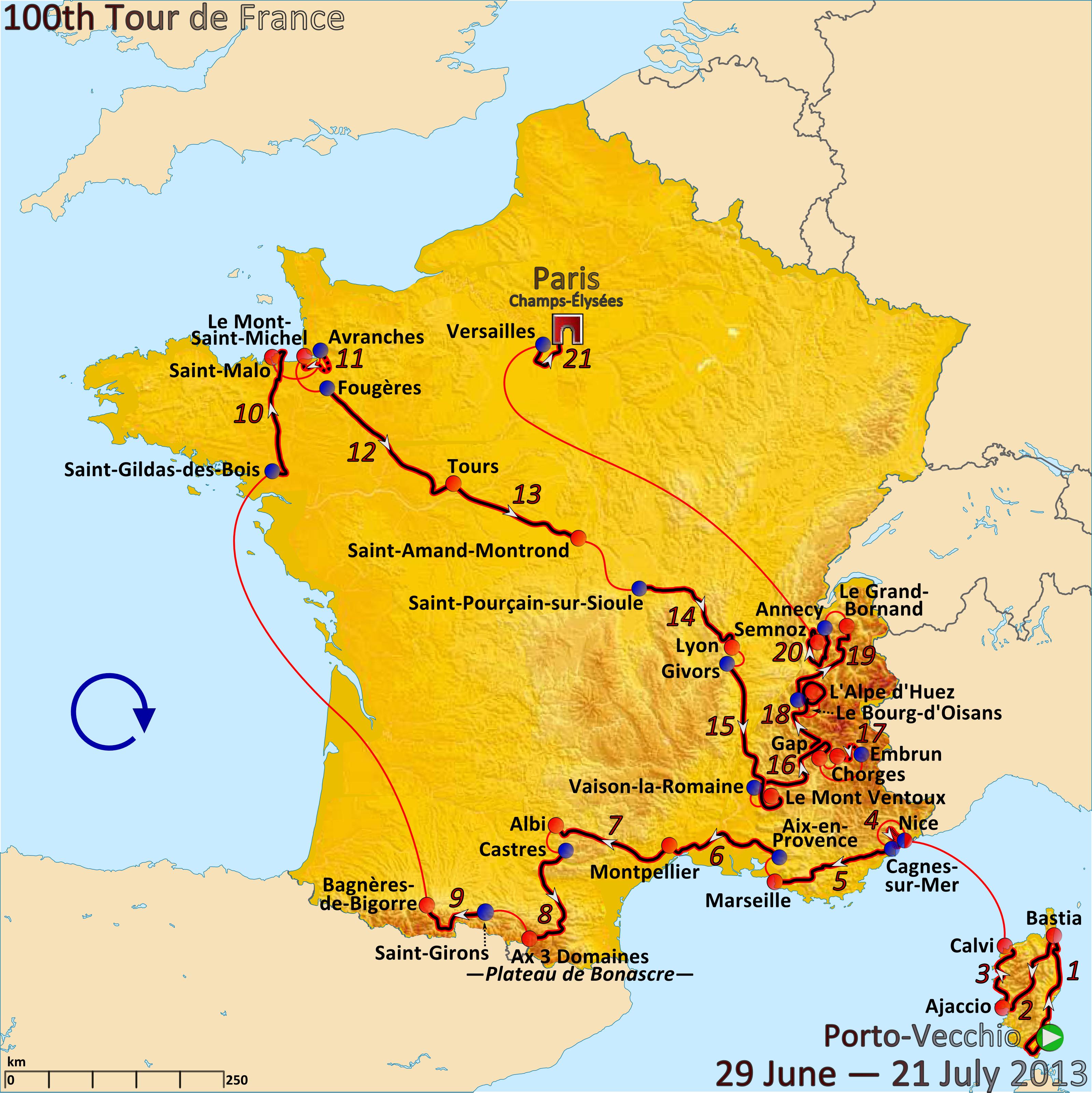 TOUR DE FRANCE MAP 2014