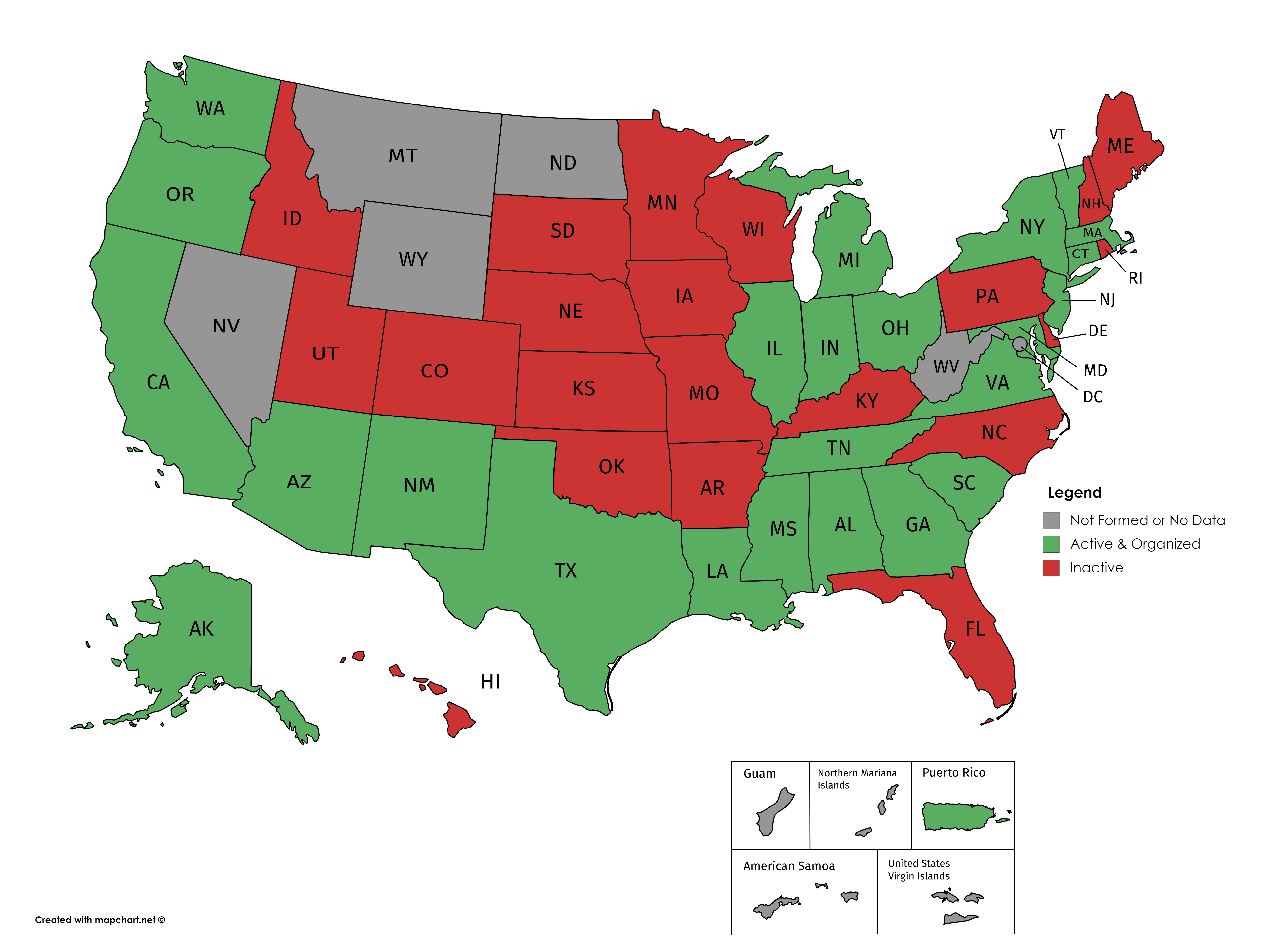 Map Of Us Militias State defense force   Wikipedia