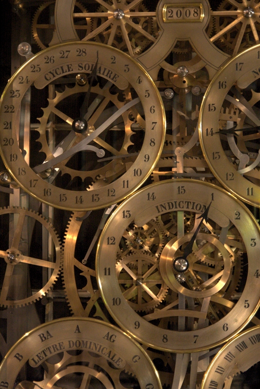 Reloj astronómico de Estrasburgo. Detalle del cómputo eclesiástico.