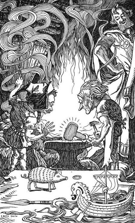 Brokkr and [[Eitri]] forging [[Mjöllnir]]