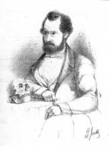Line drawing of Thomas Bateman, Derbyshire Archaeologist, shown in deep contemplation while seated at a table on which rests an ancient skull. Drawn by his close friend Llewellyn Jewitt, c. 1855.