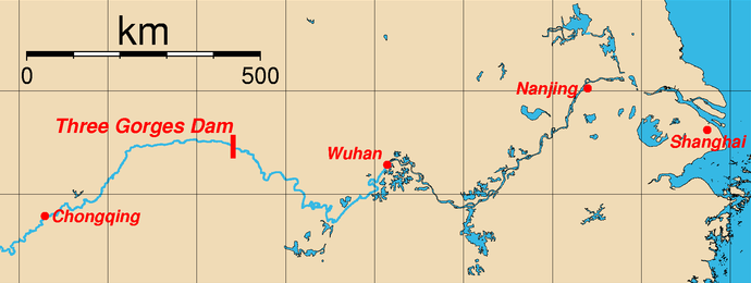 Map of the location of the Three Gorges Dam, Sandouping, Yichang, Hubei Province, China and major cities along the Yangtze River.