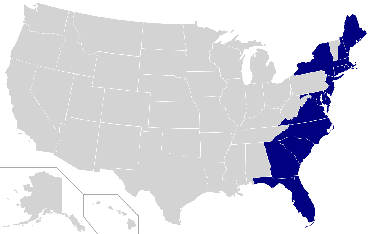 Us East Coast States Map East Coast of the United States   Wikipedia