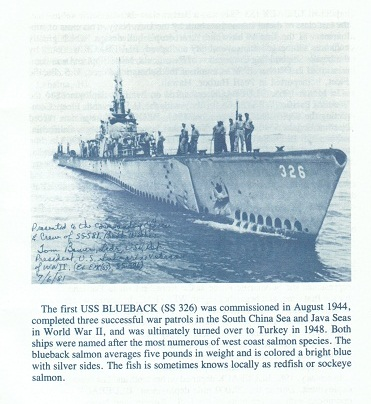 USS Blueback SS581 page from decommissioning booklet