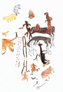 File:Una pintura rupestre de la cueva de Toquepala.JPG