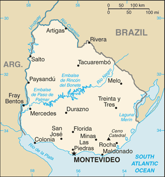 World Map Uruguay