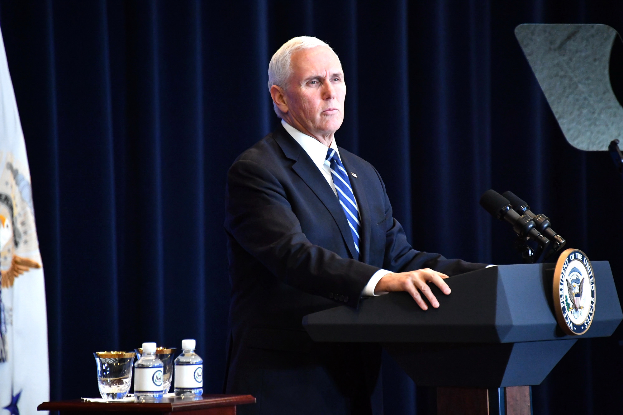 Vice President Pence Delivers Remarks at the Global Chiefs of Mission Conference (46041481704).jpg