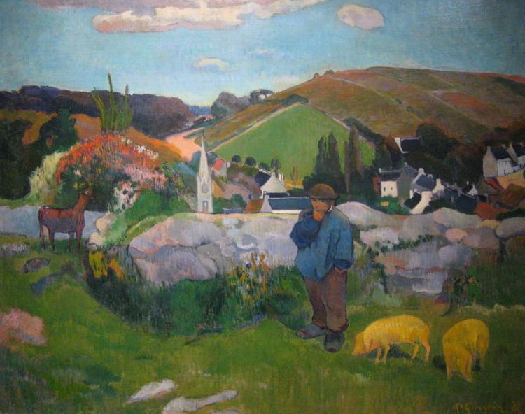 Toile de Paul Gauguin (1888) : Le porcher.