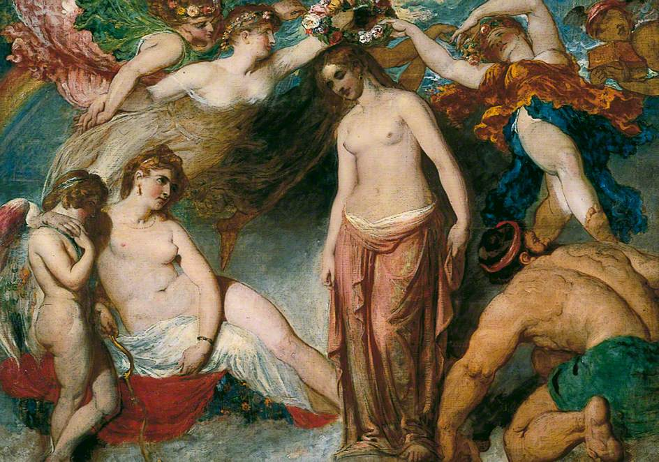 Naked woman surrounded by other nude figures