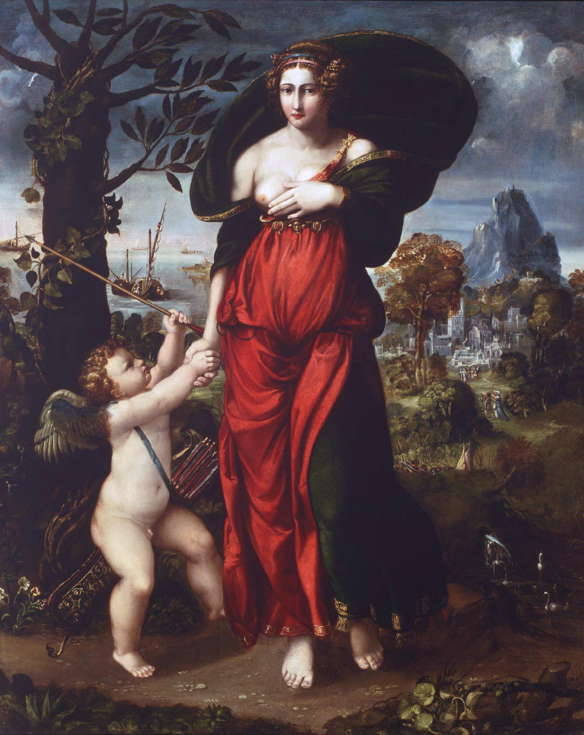 File:'Venus and Cupid', oil on canvas painting by Battista Dossi (