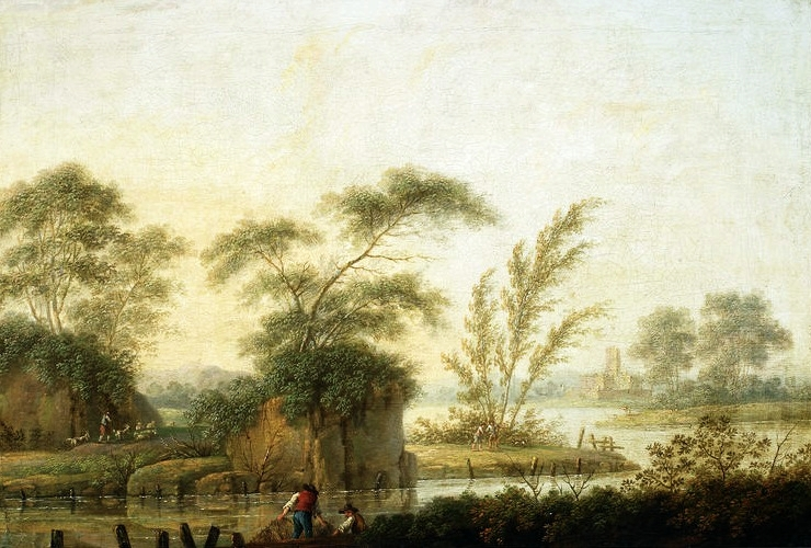 Fishermen on the bank of the river.