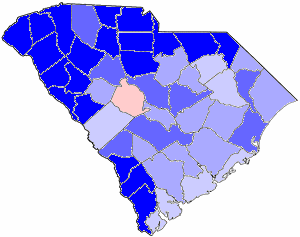 1978 South Carolina gubernatorial election map, by percentile by county. .mw-parser-output .legend{page-break-inside:avoid;break-inside:avoid-column}.mw-parser-output .legend-color{display:inline-block;min-width:1.25em;height:1.25em;line-height:1.25;margin:1px 0;text-align:center;border:1px solid black;background-color:transparent;color:black}.mw-parser-output .legend-text{}  65+% won by Riley   60%-64% won by Riley   55%-59% won by Riley   50%-54% won by Riley   50%-54% won by Young