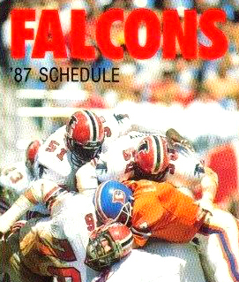 The Falcons' defense taking on Denver Broncos quarterback John Elway during a 1985 game.