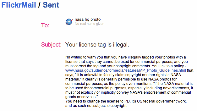 Bill Ingalls, Your license tag is illegal. Copyright note-I just sent to NASA photographer Flickr account--Screen shot.png