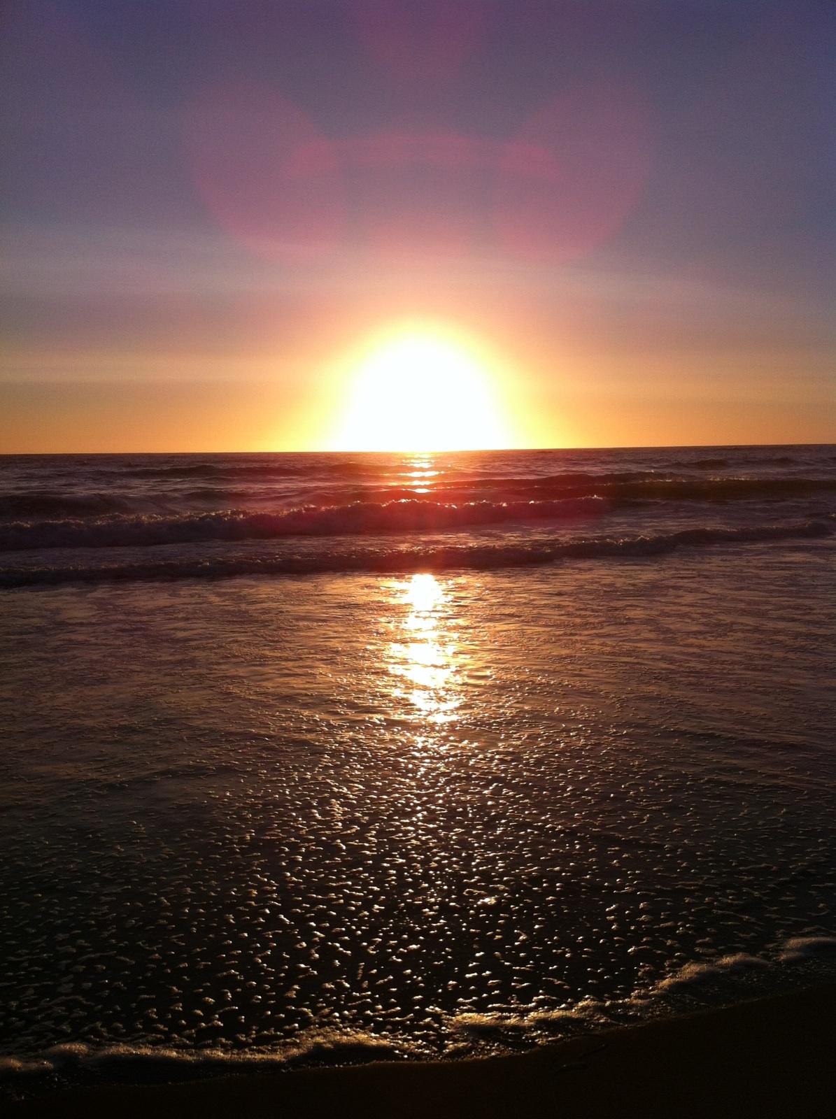 California sunset on the beach