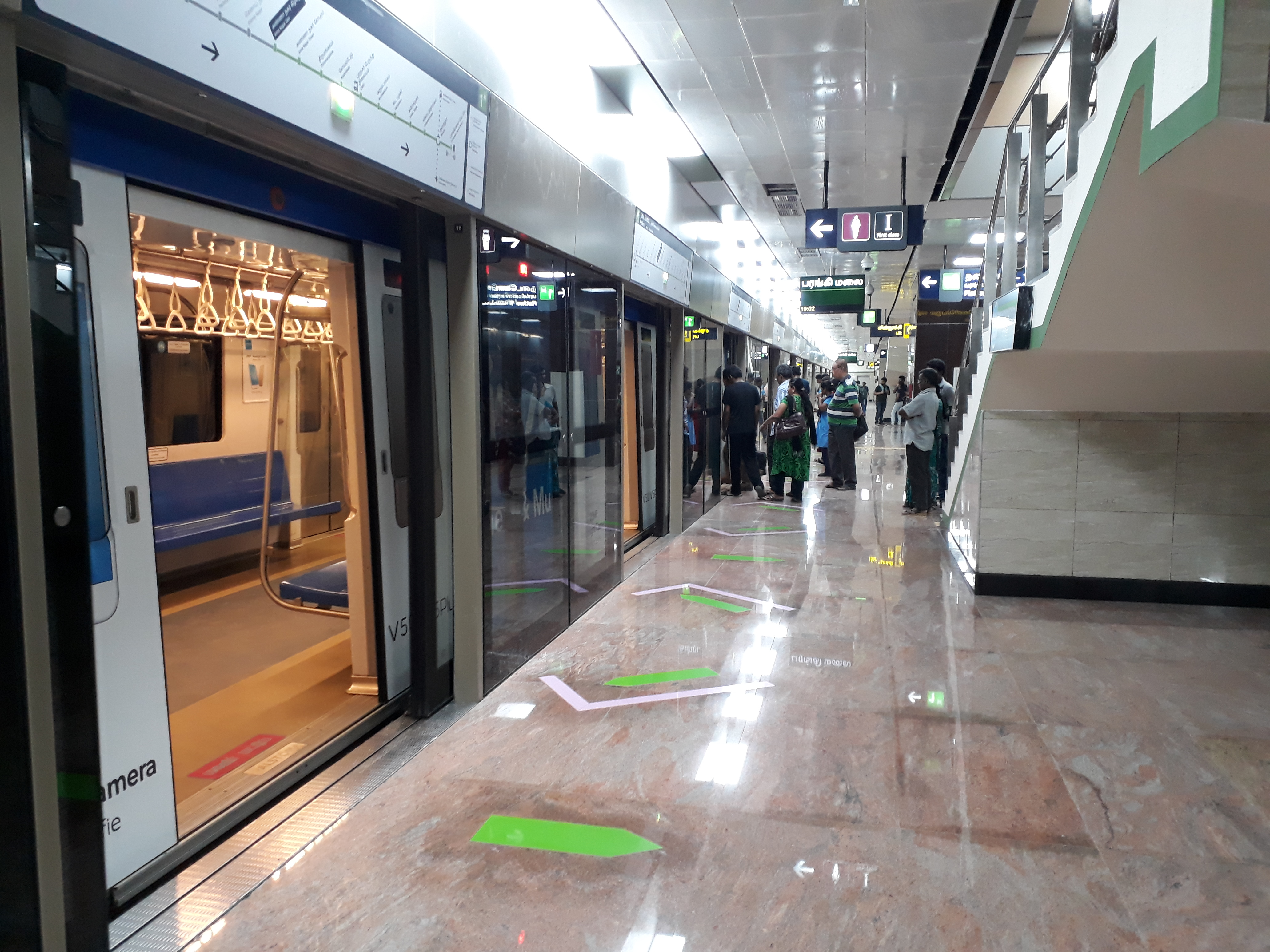An underground station of Chennai Metro with platform-edge doors in Chennai, India.