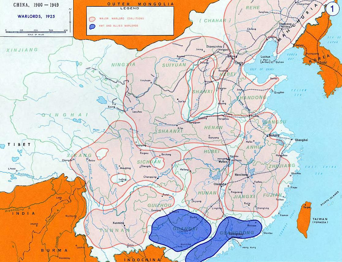 Major Chinese warlord coalitions (1925)