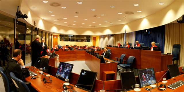 Courtroom I during a swearing-in ceremony of Judges. (Photograph provided courtesy of the ICTY.)