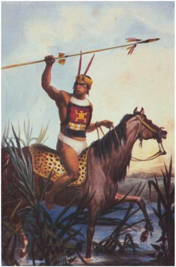 Native American Warrior in Brazil, depicted by Jean-Baptiste Debret in the early 19th century
