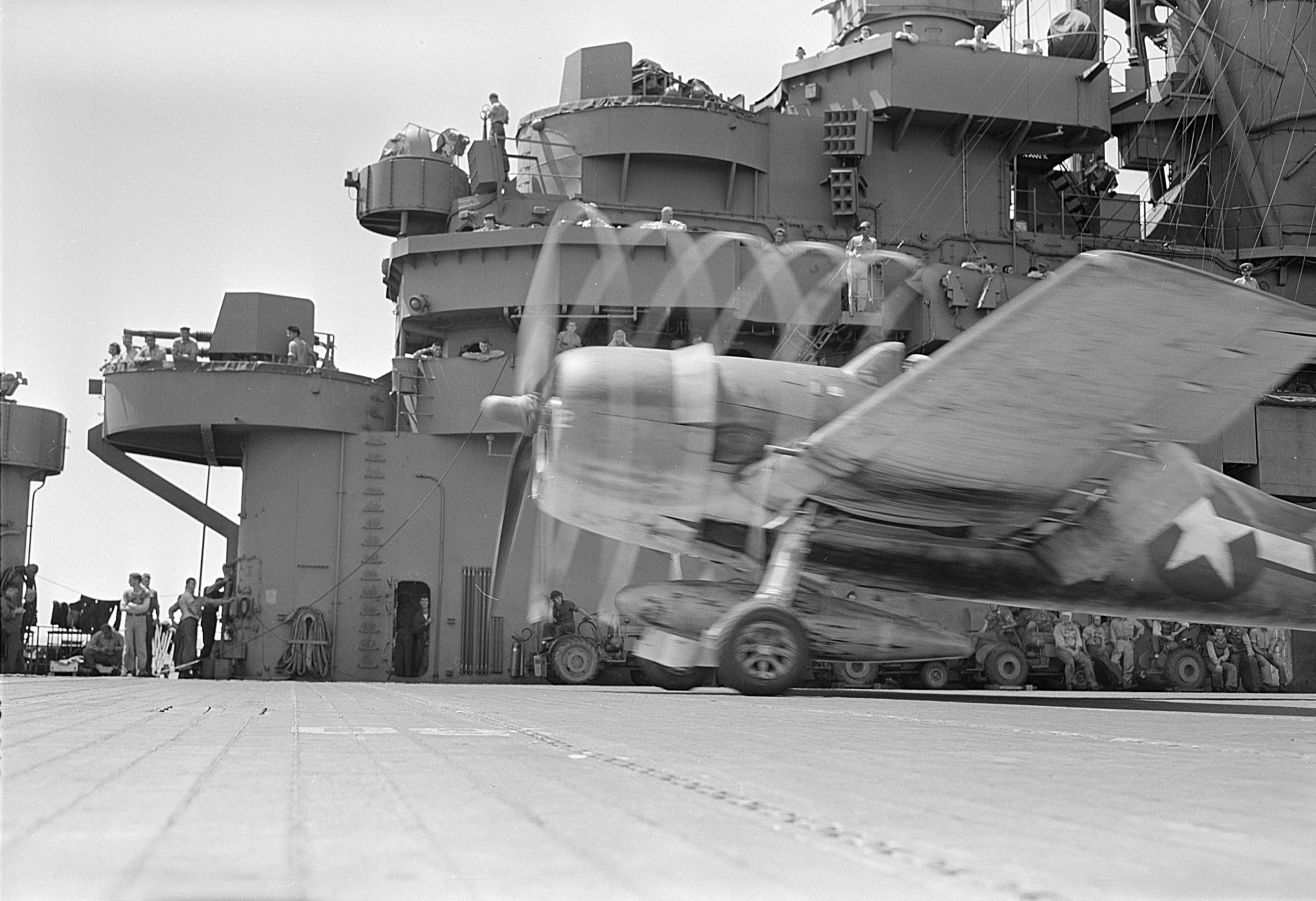 file f6f goes down deck for take-off of uss lexington  cv-16  - nara - 520898 jpg