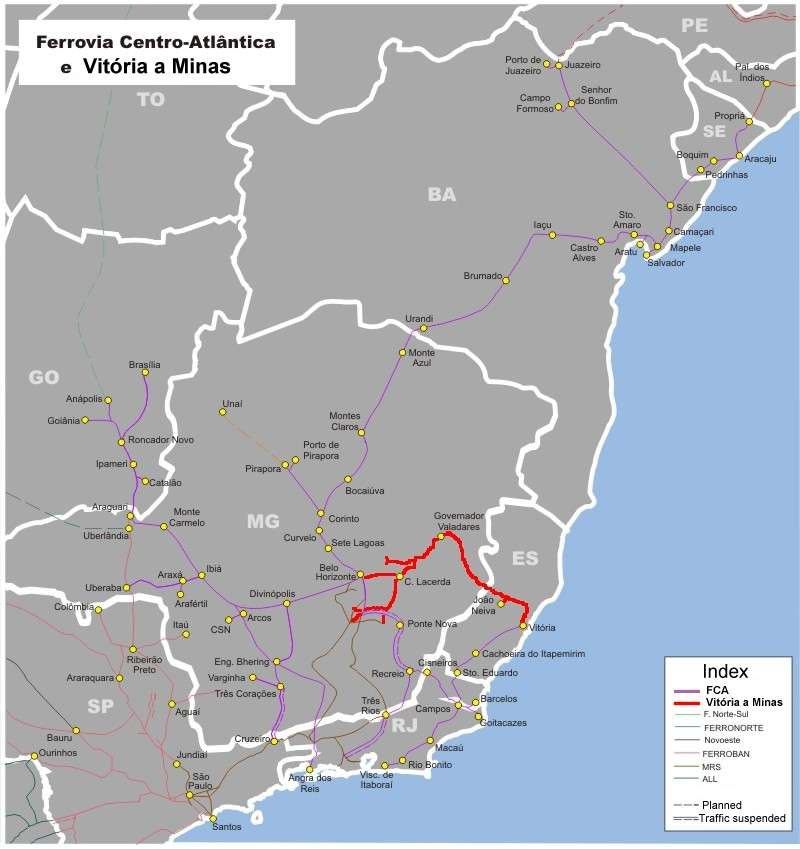 Rail Transport In Brazil Wikipedia - Maps of planes shipping goods us to brazil