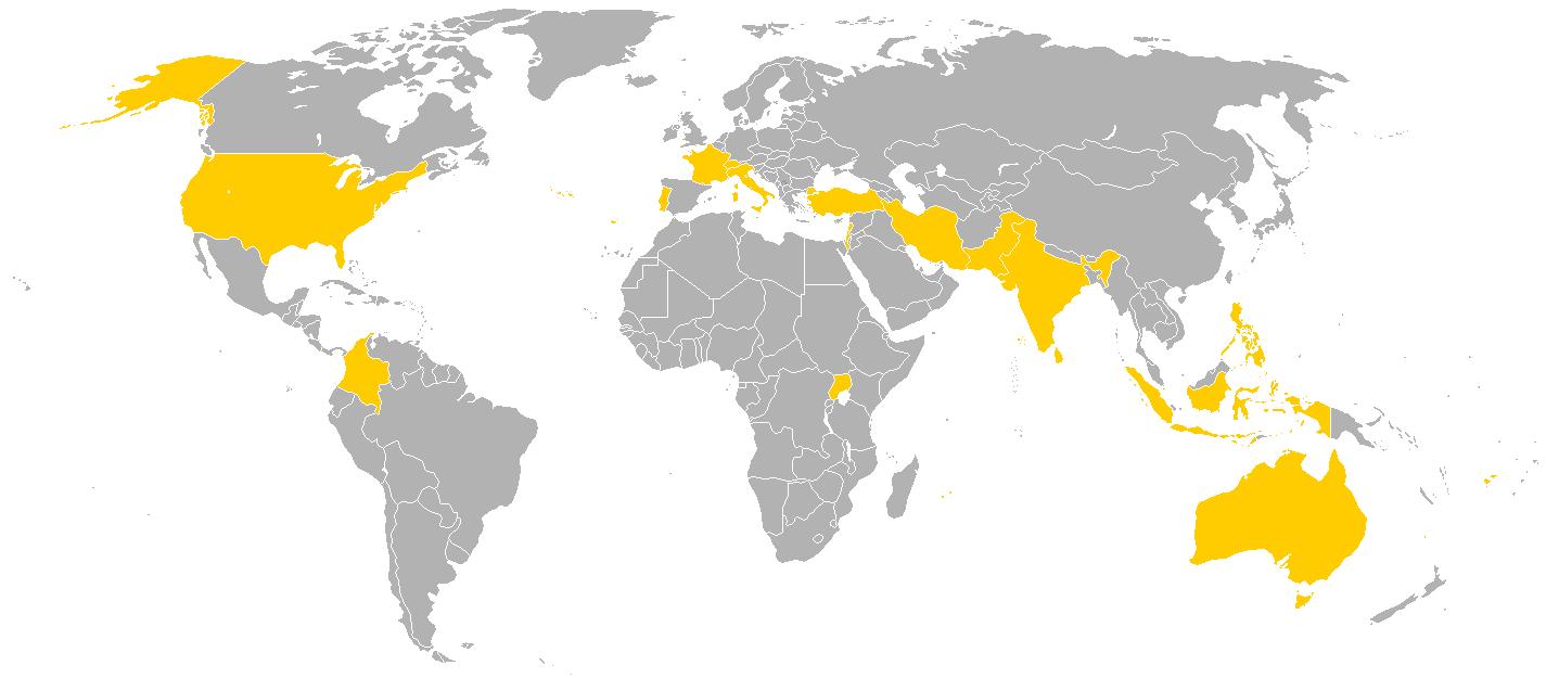 Países visitados por el Papa Pablo VI.