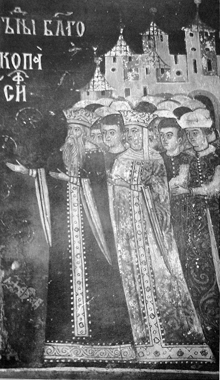 Fresco of Alexander the Good and his consort Lady Ana, Suceviţa Monastery, Romania (16th century).jpg