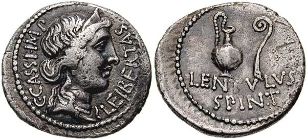 Denarius (42 BC) issued by Gaius Cassius Longinus and Lentulus Spinther, depicting the crowned head of Liberty and on the reverse a sacrificial jug and lituus, from the military mint in Smyrna. Caption: C. CASSI. IMP. LEIBERTAS / LENTVLVS SPINT. Gaius Cassius Longinus and Lentulus Spinther. 42 BC. AR Denarius.jpg