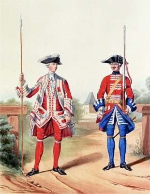 Soldier and officer of the Gardes Suisses in French service in 1757 Gardes Suisses Marbot.jpg