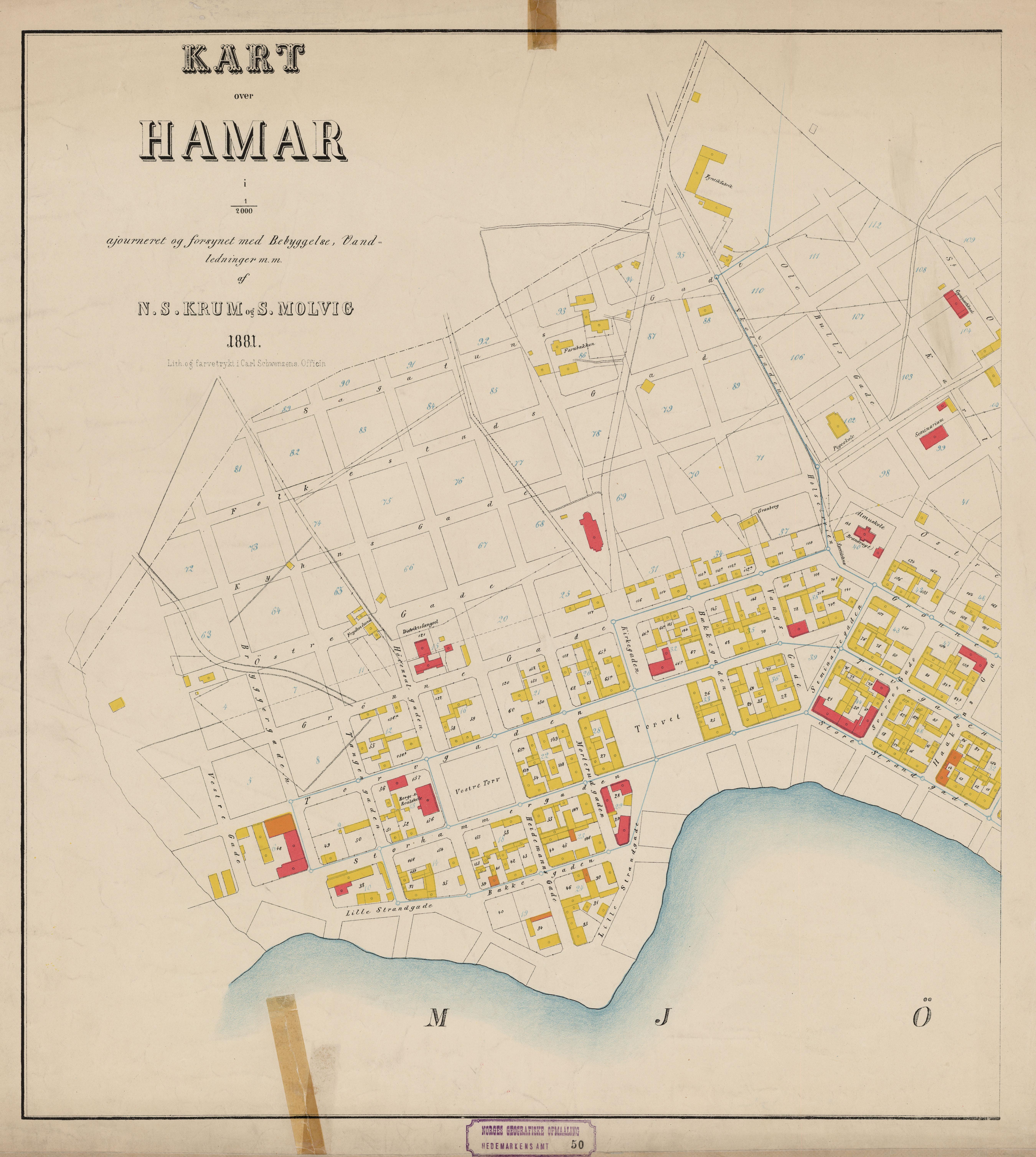 File Hedmarkens Amt Nr 50 Vest Kart Over Hamar Vest Hamar