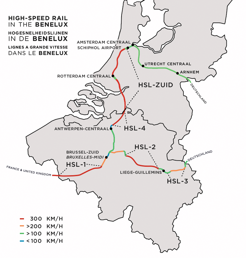 Highspeed rail in Belgium Wikipedia – Train Stations Brussels Map