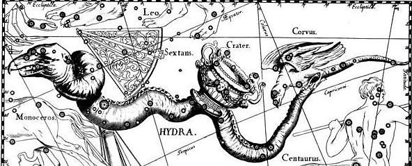 La constelación de la Hydra, junto al Cuervo y el Cráter