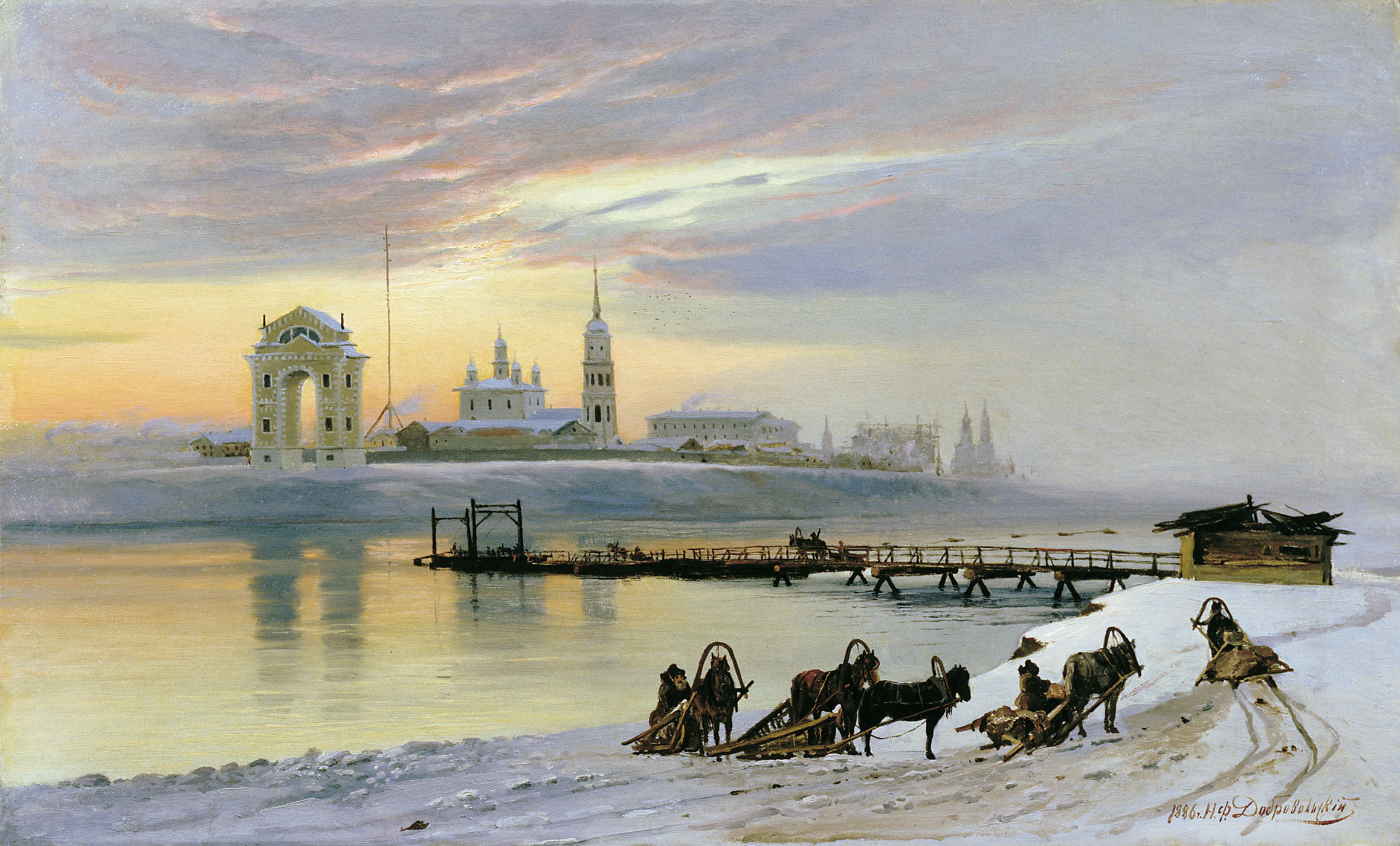 "painting by Dobrovoloskii ""Crossing the Angara in Irkutsk"""