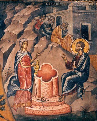 Jésus et la Samaritaine. Fresque parTheophanes le Crétois, Monastère de Stavronikita, Mont Athos, 16e siècle.