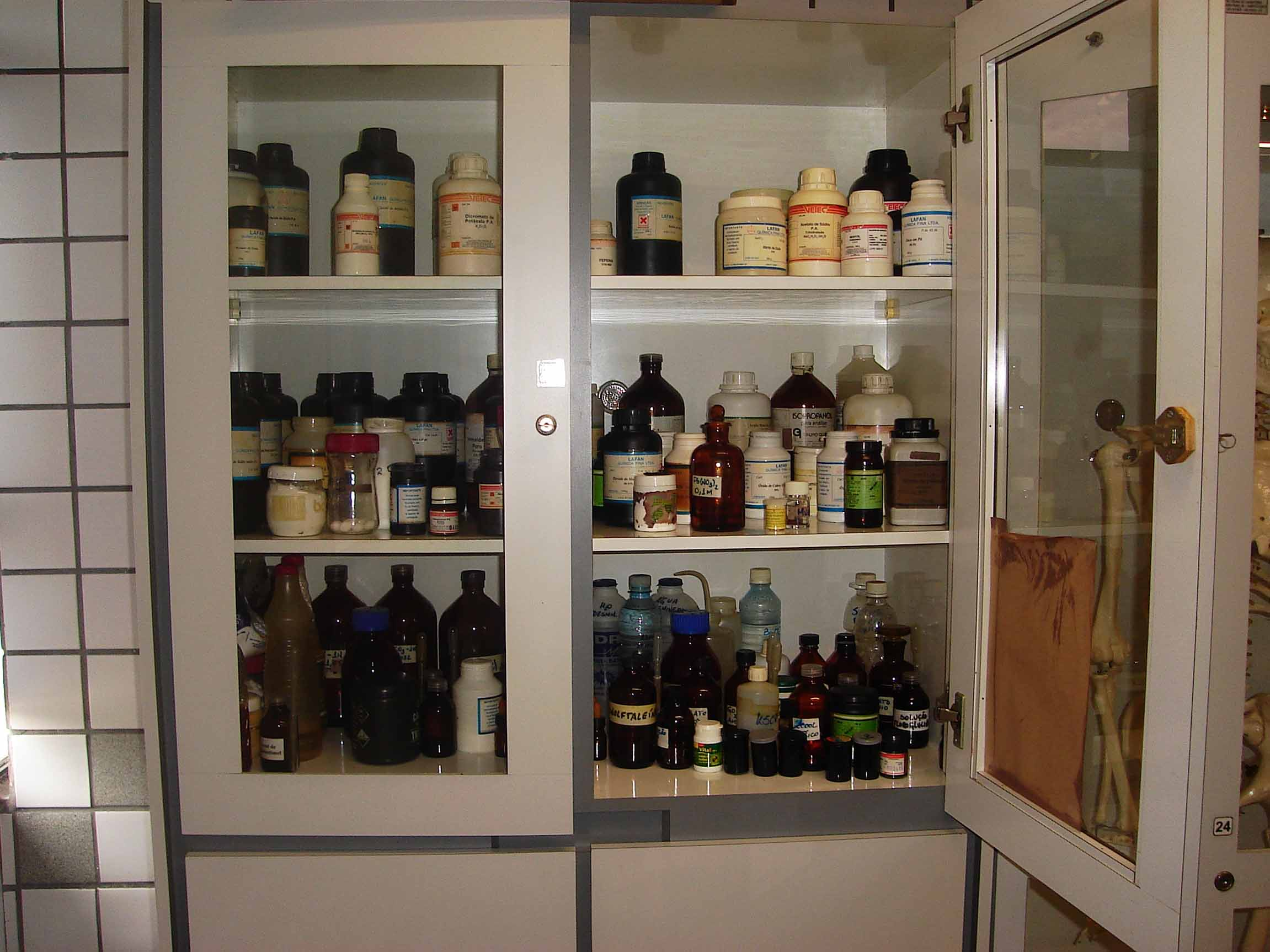 Chemicals in cabinet