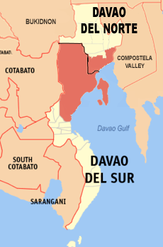 Map of Davao del Norte and Davao del Sur showing the location of Metro Davao