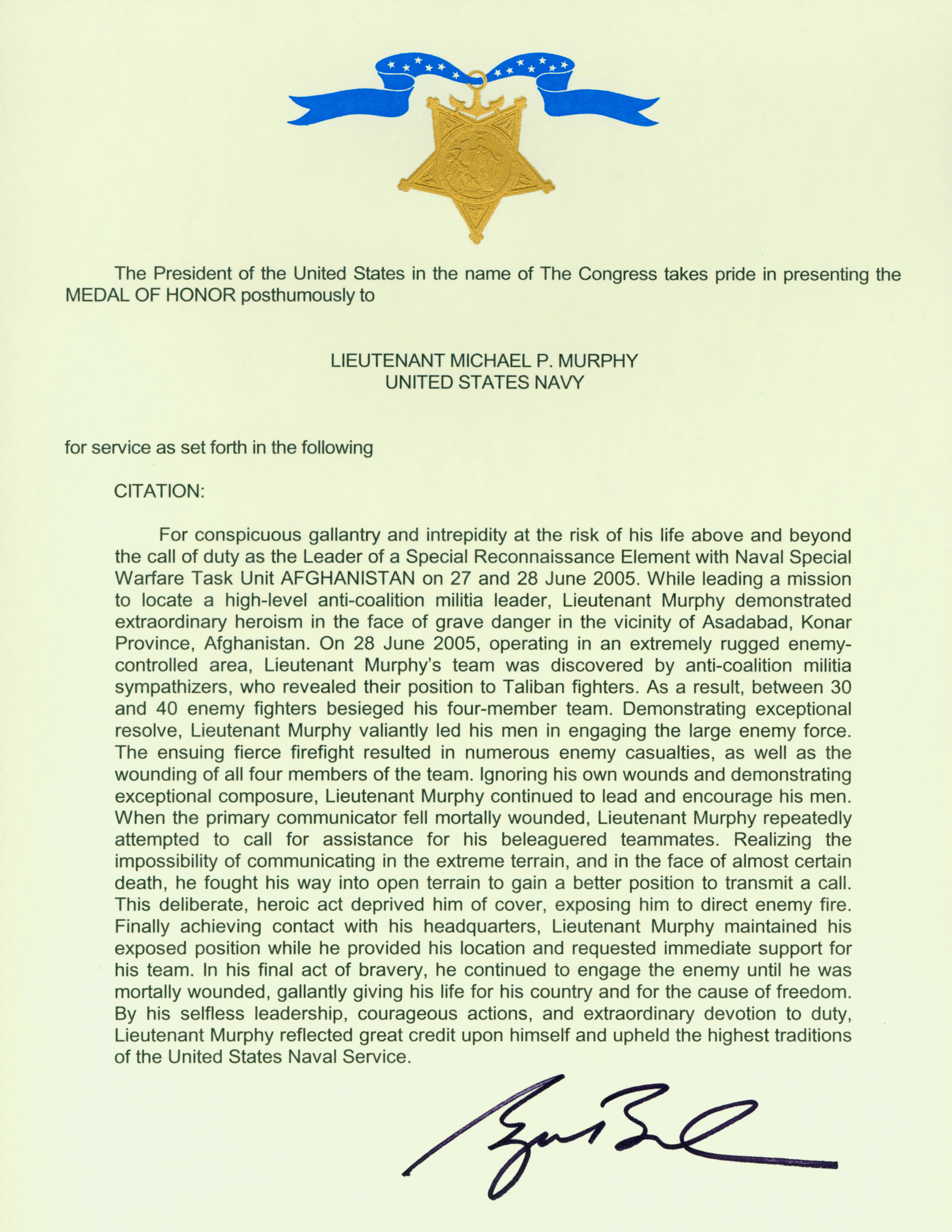 File Michael P Murphy Medal Of Honor Citation Jpg