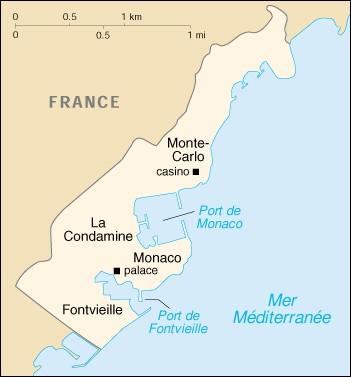 Carte de Monaco; la frontière terrestre entre les deux pays est visible.