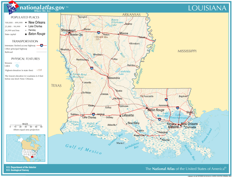 Louisiana map by county