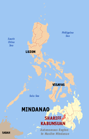 Map of the Philippines with Shariff Kabunsuan highlighted