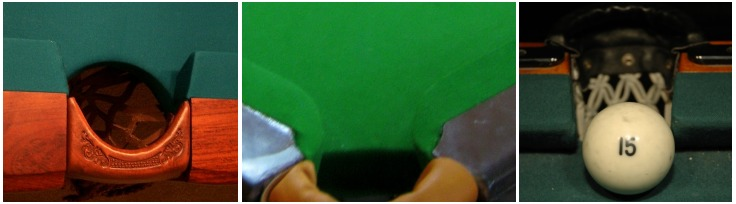 A comparison of the pocket facings of (left-to-right): an American pool table (side pocket); a British-style snooker table (corner pocket); and a Russian pyramid table (side pocket). Pocket facings comparison.jpg