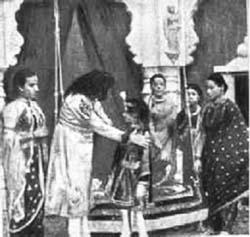 A scene from Raja Harishchandra (1913) – credited as the first full-length Indian motion picture.