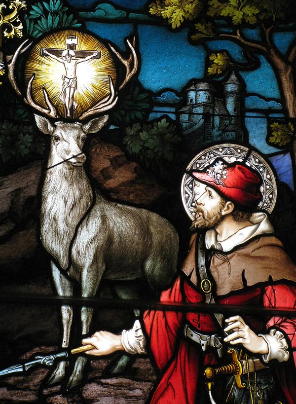 St Hubert of Liège Saint Hubertus Hunting Huntsmen Partron Patch Simbol BLUE