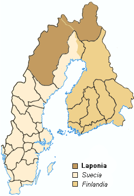 Map Swedish Provinces, Lappland. Español: Mapa...