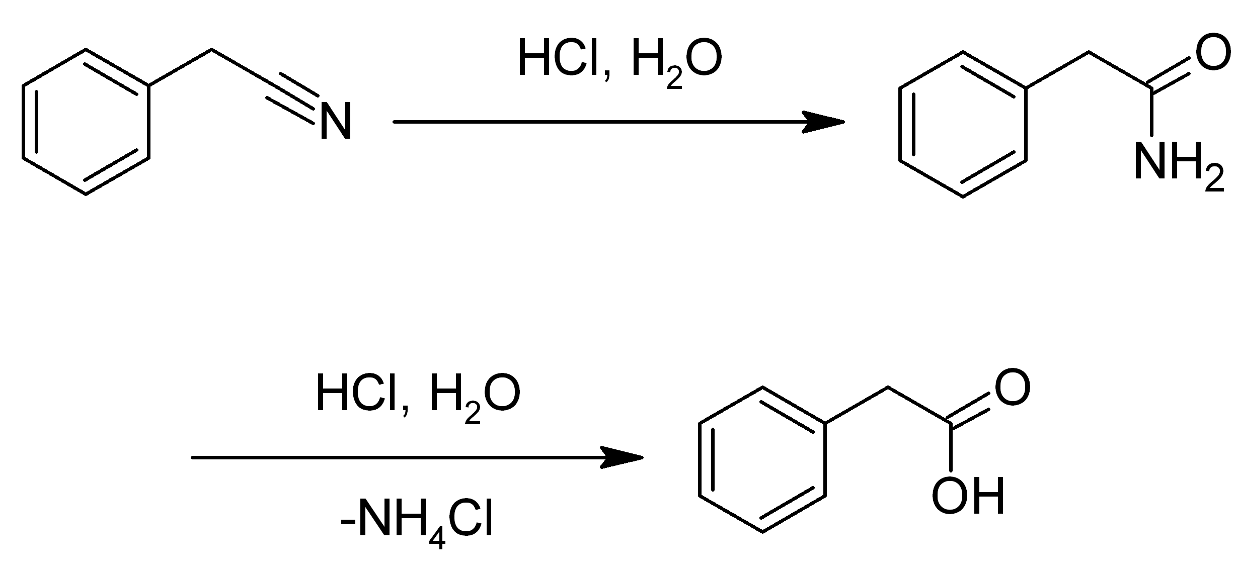 File:Synthesis of phenylacetic acid from benzyl cyanide png